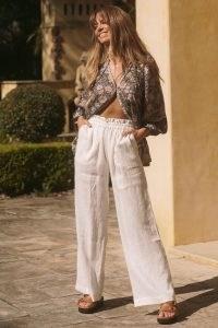 SPELL BASIC LINEN WIDELEG PANT White / womens effortlessly stylish summer trousers / women's semi sheer pocket detail pants