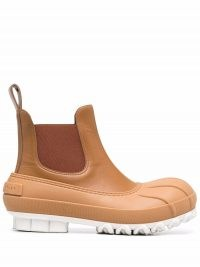 Stella McCartney elasticated-panel ankle boots ~ womens brown chunky rubber and faux leather pull tab boots