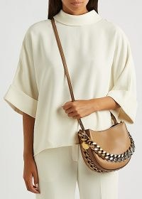 STELLA MCCARTNEY Frayme small faux leather shoulder bag | neutral chunky chain detail cross body bags