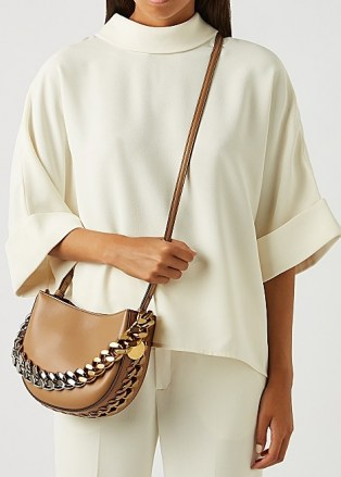 STELLA MCCARTNEY Frayme small faux leather shoulder bag   neutral chunky chain detail cross body bags - flipped