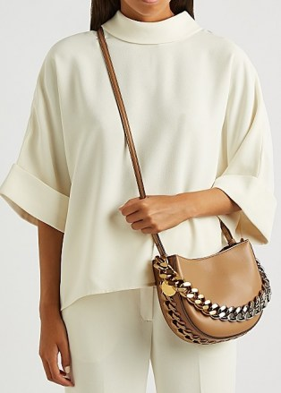 STELLA MCCARTNEY Frayme small faux leather shoulder bag   neutral chunky chain detail cross body bags