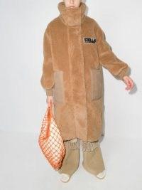 Stella McCartney Luna Teddy Mat oversized coat in biscuit brown / womens designer faux fur funnel neck coats / women's winter outerwear