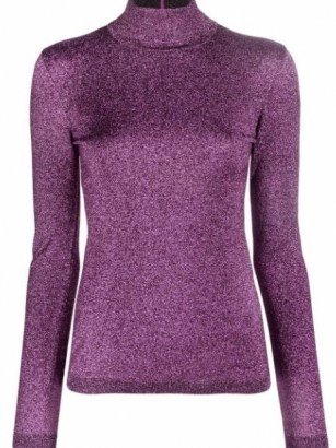 Stella McCartney metallic purple roll-neck top – women luxe high neck metallic thread tops - flipped