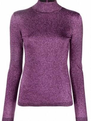 Stella McCartney metallic purple roll-neck top – women luxe high neck metallic thread tops