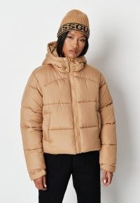 MISSGUIDED stone padded hooded puffer jacket ~ womens on-trend autumn & winter jackets