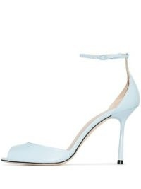 Studio Amelia Spindle 90mm sandals – Studio Amelia blue leather ankle strap stilettos – high heels