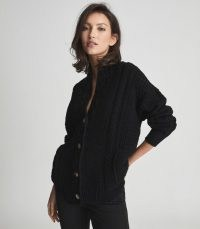 REISS SUMMER SHAWL COLLAR CARDIGAN BLACK ~ high neck textured cable pattern cardigans ~ chic knitwear