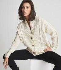 REISS SUMMER SHAWL COLLAR CARDIGAN CREAM ~ chic cable knitt cardigans ~ womens neutral knitwear