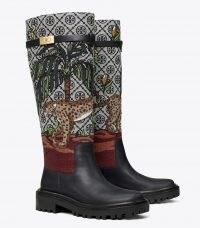 Tory Burch T MONOGRAM T HARDWARE EMBROIDERED BOOT in Navy Mist / Cheetah Needlepoint – womens designer jacquard tall boots