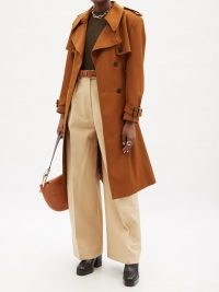 CHLOÉ Double-breasted virgin wool trench coat / burnt orange classic style coats / women's designer belted outerwear / womens 70s vintage inspired outfits