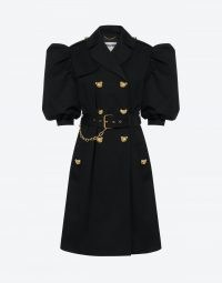 MOSCHINO TEDDY BUTTONS STRETCH GABARDINE TRENCH COAT   belted puff sleeve coats   womens designer outerwear