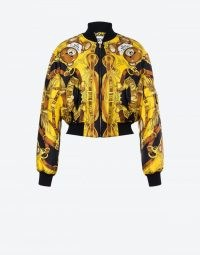 MOSCHINO TEDDY SCARF SILK TWILL BOMBER | printed front zip jackets
