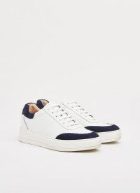 L.K. Bennett TEDDY WHITE LEATHER & NAVY SUEDE FLATFORM TRAINERS | womens contrast detail sneakers | women's casual sports inspired footwear