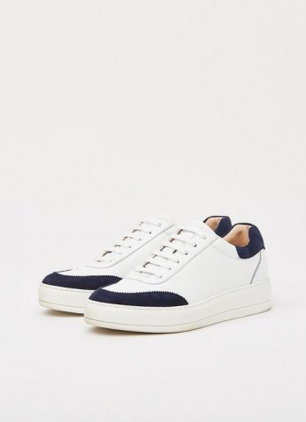 L.K. Bennett TEDDY WHITE LEATHER & NAVY SUEDE FLATFORM TRAINERS | womens contrast detail sneakers | women's casual sports inspired footwear - flipped