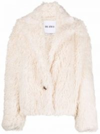 The Attico single-breasted faux shearling jacket / white shaggy fur jackets / cool retro outerwear
