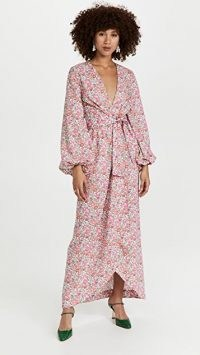 The Vampires Wife The Dreamer Dress / pink floral balloon sleeve tie-waist maxi dresses