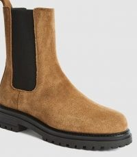 REISS THEA SUEDE CHELSEA BOOTS CARAMEL ~ womens light-brown pull on calf length boot