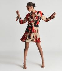 REISS THEO PRINTED SHIRT DRESS RED ~ long sleeve abstract print flared hem dresses