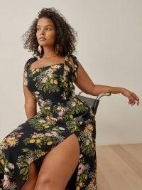 REFORMATION Twilight Dress Es in Sicilia ~ feminine plus size floral dresses ~ high split hem ~ beautiful on-trend fashion
