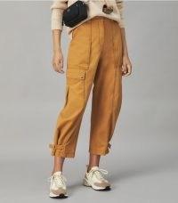 TORY BURCH TWILL CARGO PANT in Ridge ~ womens pocket detail crop hem trousers ~ women's casual designer fashion