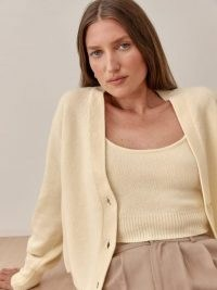 REFORMATION Varenne Cashmere Tank And Cardi Set in Warm White / knitted loungewear sets / womens lounge co ords