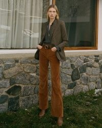 NILI LOTAN VELVET CELIA PANT CARAMEL   women's luxe brown trousers
