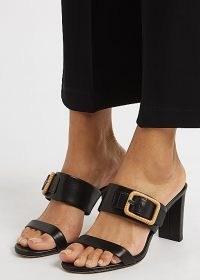 VERONICA BEARD Galoma 75 black leather sandals / raffia buckled mules