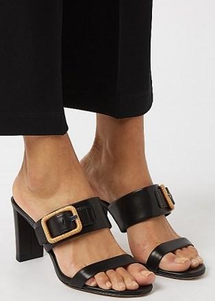 VERONICA BEARD Galoma 75 black leather sandals / raffia buckled mules - flipped