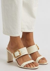 VERONICA BEARD Galoma 75 ivory python-effect leather sandals / luxe snake embossed buckle detail mules