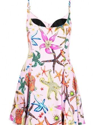 Miranda Kerr pink strappy printed mini dress, Versace Trésor de la Mer-print flared minidress, on Instagram, 26 August 2021 | celebrity social media fashion | designer star fish print dresses | sea inspired