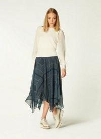 L.K. BENNETT WAIT NAVY HANDKERCHIEF PRINT ABSTRACT HEM SKIRT ~ dark blue asymmetric hem midi skirts