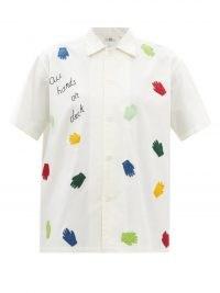 BODE All Hands On Deck appliqué white cotton-poplin shirt / womens short sleeve slogan shirts
