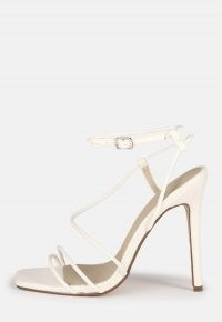 Missguided white asymmetric strappy high heel sandals – skinny strap square toe stiletto heels