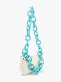 GERMANIER Beaded-strap faux patent-leather baguette bag | handbag with chunky bead embellished chain strap | small white handbags | white and turquoise crossbody