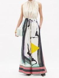 ROKSANDA Callata abstract-print silk wide-leg trousers ~ chic printed palazzo pants