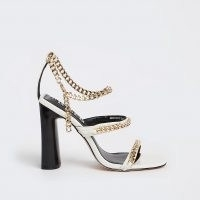 RIVER ISLAND White chain detail heeled sandals / strappy high heels / womens going out evening shoes