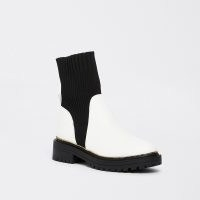 RIVER ISLAND White chunky sock boots ~ womens white boot with black contrast