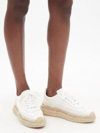 CHRISTIAN LOUBOUTIN Espasneak jute-sole white-leather trainers | womens luxe sneakers with espadrille soles