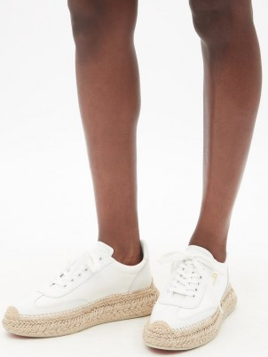 CHRISTIAN LOUBOUTIN Espasneak jute-sole white-leather trainers   womens luxe sneakers with espadrille soles - flipped