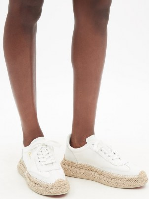 CHRISTIAN LOUBOUTIN Espasneak jute-sole white-leather trainers   womens luxe sneakers with espadrille soles