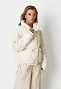 Missguided white faux leather puffer jacket – womens on trend padded jackets