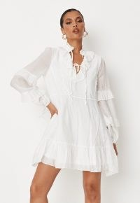 MISSGUIDED white frill sleeve lace detail dress ~ ruffled neck tiered hem dresses