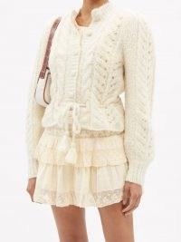 LOVESHACKFANCY Girard lace-knitted alpaca-blend cardigan ~ feminine tie waist cardigans ~ romance inspired knitwear