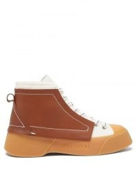 JW ANDERSON High-top leather trainers ~ womens designer hi tops ~ women's white and brown sneakers