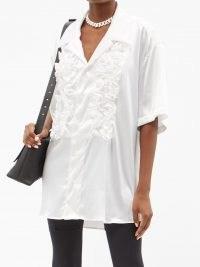 VAQUERA Ruffle-trimmed white satin shirt ~ womens oversized front ruffled shirts ~ romantic style tops