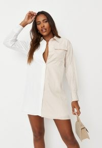 MISSGUIDED white spliced oversized satin shirt dress ~ casual button through dresses ~ on trend fashion
