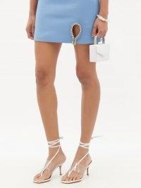 AMINA MUADDI Zula 70 clear-strap white-leather sandals ~ strappy ankle tie PVC strap mid stiletto heels