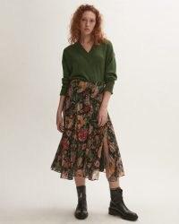 JIGSAW WILD BOUQUET ASYMMETRIC SKIRT / floaty floral split hem skirts