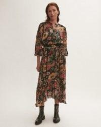 JIGSAW WILD BOUQUET MAXI DRESS / romantic floral print ruffle trim dresses / feminine fashion