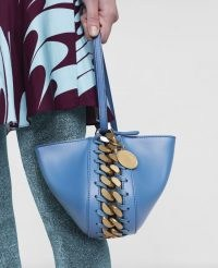 Stella McCartney Frayme Clutch Bag in Teal ~ small vegan bags ~ chunky chain detail handbag ~ luxe faux leather handbags